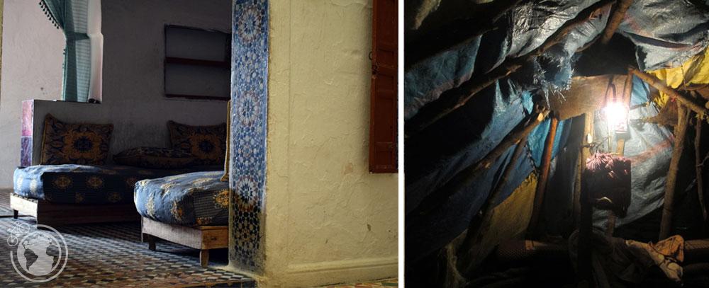 Izq: Casa de una familia en Meknes, Marruecos. Der: Iluminación en una casa de nómadas en el Atlas, Marruecos