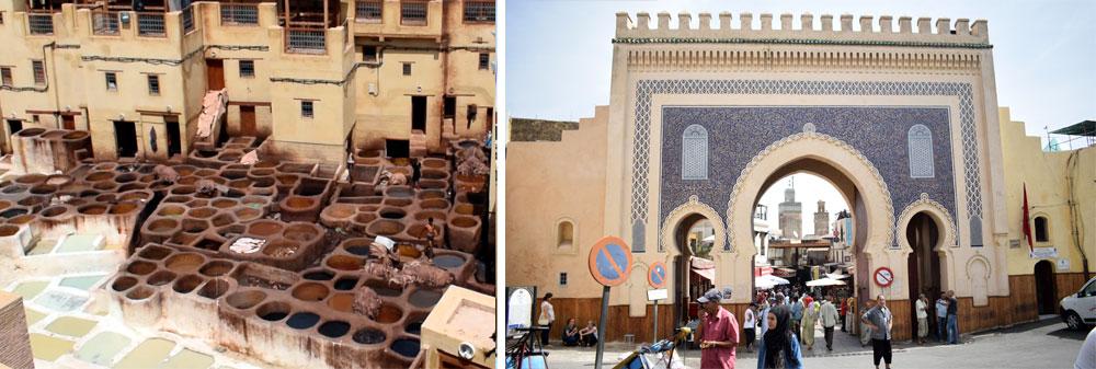 Izqda. Curtidores en la ciudad de Fez. / Dcha. Puerta Bab Boujloud en la zona de los puestos de comida.
