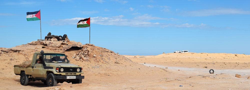 Frente Polisiario situado antes de la frontera con Mauritania (27/10/2016).