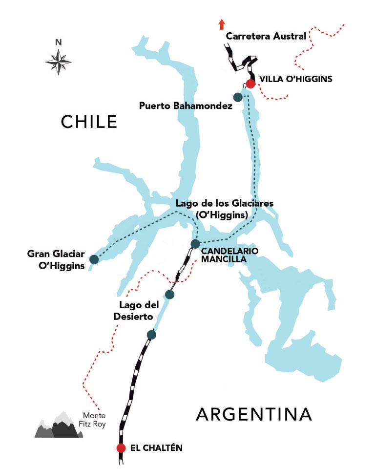 Mapa del cruce entre Argentina y Chile por el Lago del Desierto.